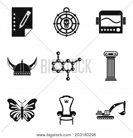 Study of antiquities icons set. Simple set of 9 study of antiquities icons for web isolated on white background
