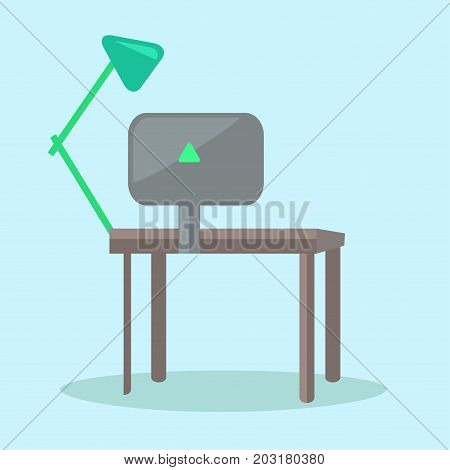 Dark computer desk with black monitor and green reading-lamp vector illustration. Verdant triangular sign on back of display