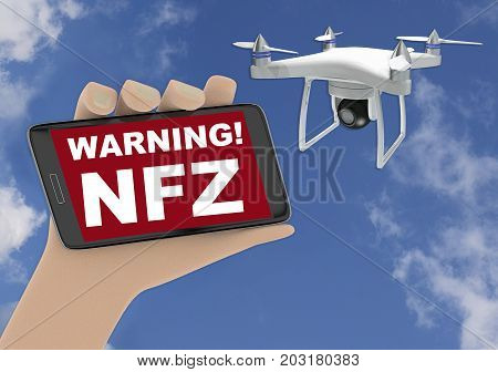 3D Render Illustration Of Drone No Fly Zone Warning Concept