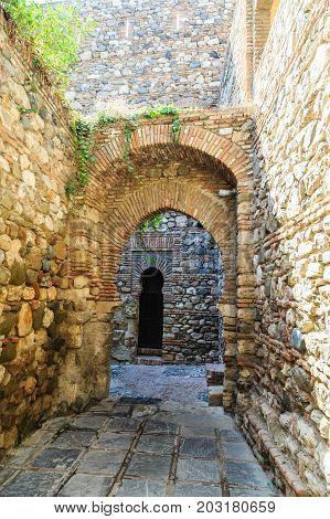 Old Stone Arches in Alcazaba in Malaga
