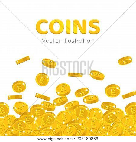 Raingold pounds cartoon frame. A rain of the flying gold of pounds in the form of a frame in a cartoon style. Falling gold pieces in the form of vector illustrations