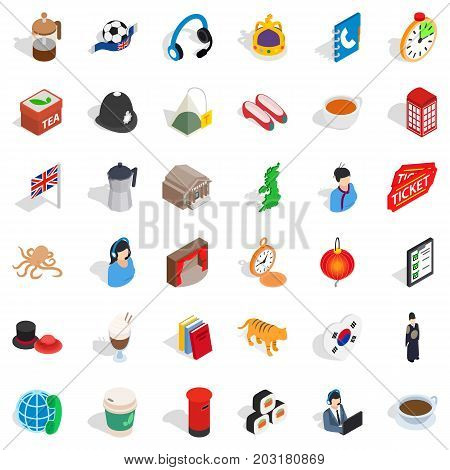 Press icons set. Isometric style of 36 press vector icons for web isolated on white background