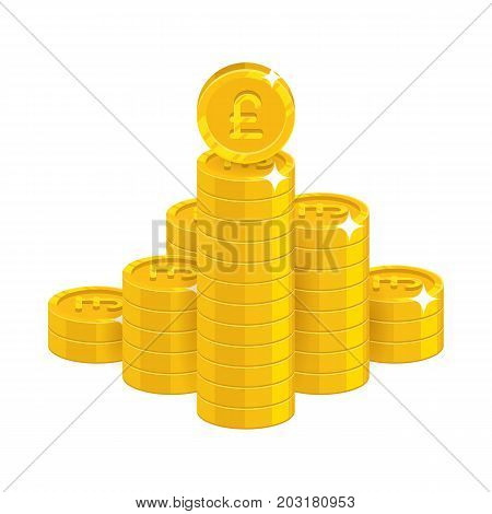 Mountain gold pounds isolated cartoon icon. Bunches of gold pounds and pound signs for designers and illustrators. Gold stacks of pieces in the form of a vector illustration