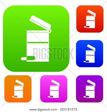 Steel trashcan set icon in different colors isolated vector illustration. Premium collection