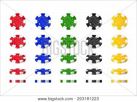 Chips rotation cartoon style isolated. The multicolored chips are at different angles around its axis for designers and illustrators. Rolling of bets in the form of a vector illustration