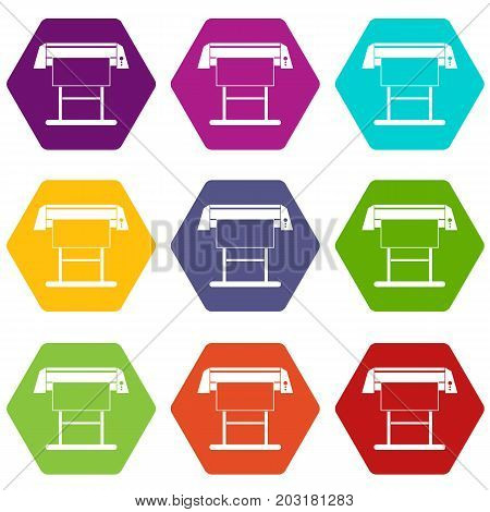 Large format inkjet printer icon set many color hexahedron isolated on white vector illustration