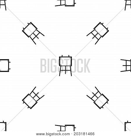 Wooden easel pattern repeat seamless in black color for any design. Vector geometric illustration