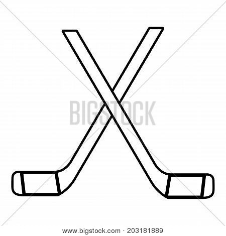 Two crossed hockey sticks icon. Outline illustration of two crossed hockey sticks vector icon for web design isolated on white background