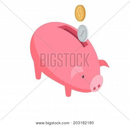 Silver and gold coins falling into pink piggy bank graphic icon on white background. Vector illustration of online banking in cartoon style. Hand drawn pattern for infographics, websites, app.
