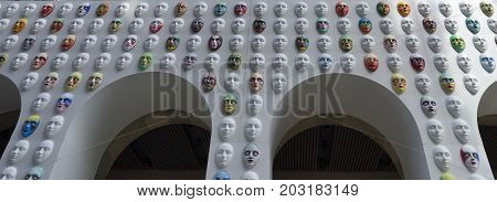 MILAN, ITALY - SEPTEMBER 6, 2017: Colorful masks at Duomo square in Milan (Lombardy Italy) for the project called
