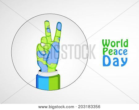 illustration of hand in earth background with World Peace Day text on the occasion of World Peace Day