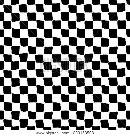 Black and white rough checkered seamless pattern, vector background