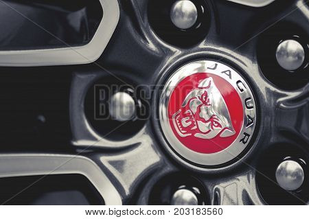 Wroclaw, Poland -  August 19Th, 2017: Wheels And Emblem Of A Jaguar Sports Car. Jaguar Is The Luxury