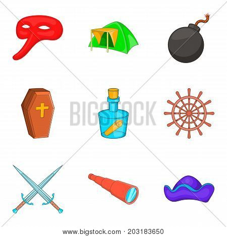 Archaeology icons set. Cartoon set of 9 archaeology vector icons for web isolated on white background