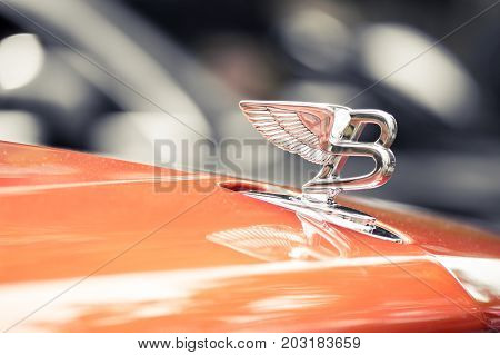 Wroclaw, Poland -  August 19Th, 2017: Hood Ornament On A Vintage Bentley Car. Bentley Motors Limited