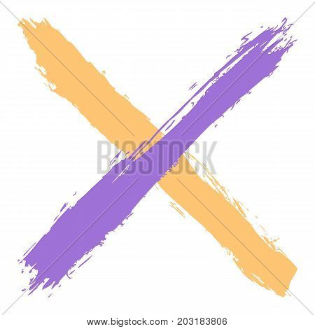 Colored Criss Cross Brushstroke Delete Sign