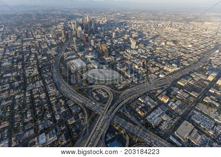 Los Angeles, California, USA - August 7, 2017:  Aerial view of Harbor 110 and Santa Monica 10 freeway interchange, LA Convention Center and downtown skyline.