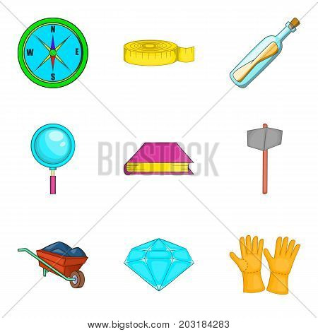 Archeology icons set. Cartoon set of 9 archeology vector icons for web isolated on white background