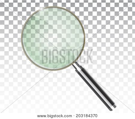 Magnifier transparent realistic vector. Magnifying lens vector