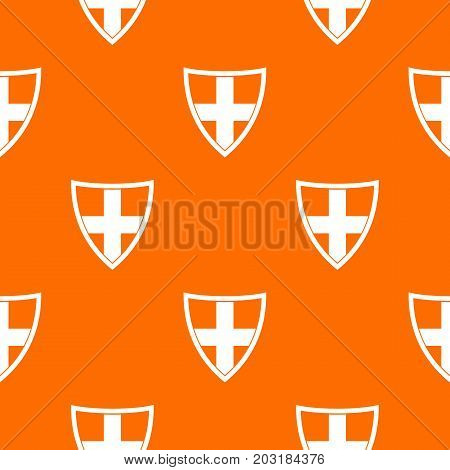 Shield for protection pattern repeat seamless in orange color for any design. Vector geometric illustration