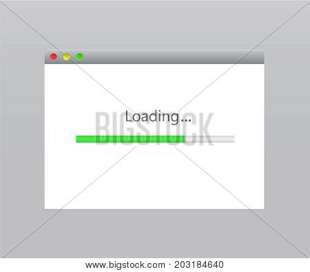 Loading window vector modern load screen computer operation. Internet browser window with a progress bar of upload and download