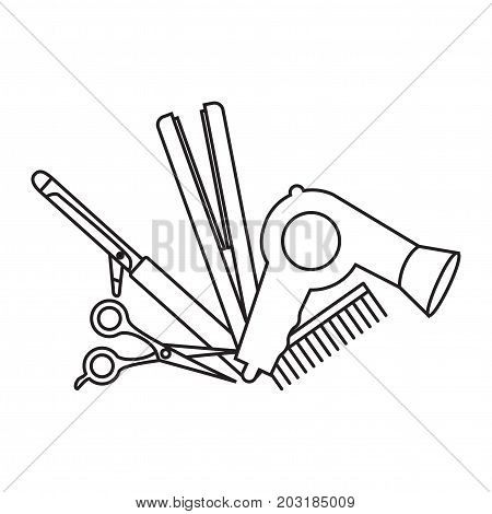 Flat design elements of hairdresser. Set with beauty haircut accessories and equipment. Haircut salon Instrument isolated. Scissors, brushes and devices