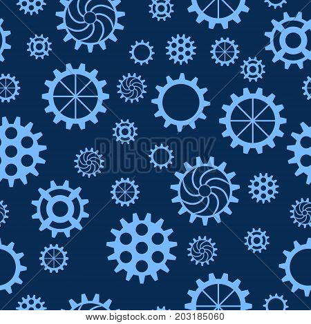 Seamless pattern with gears of different sizes and shapes on blue background. Mechanical background. Vector illustration