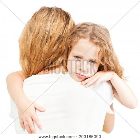 Girl with female. Sad child embracing mother.