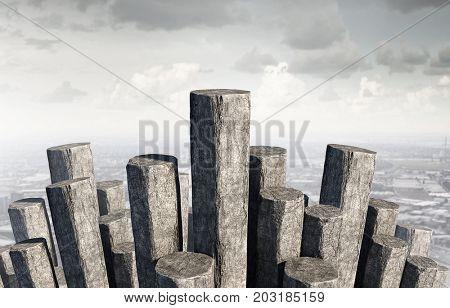Concrete columns as graph. Mixed media