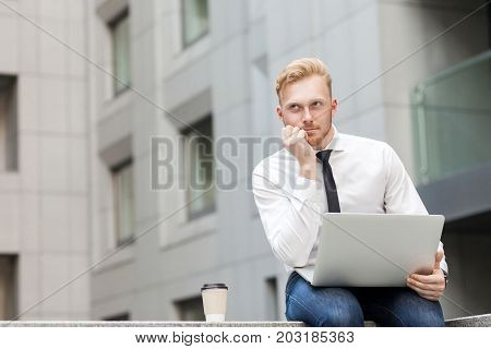 Young Adult Ginger Bearded Businessman , Work In Computer And Dreaming.