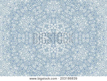 Graphics with blue abstract outline concentric pattern on white background