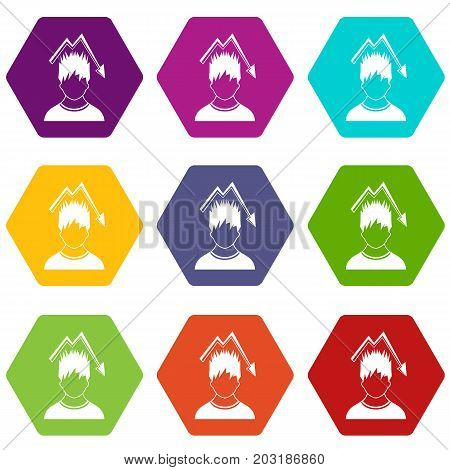 Man with falling red graph over head icon set many color hexahedron isolated on white vector illustration