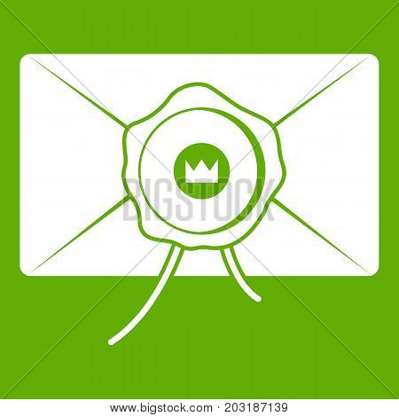 Envelope with wax seal icon white isolated on green background. Vector illustration