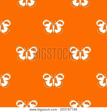 Spotted butterfly pattern repeat seamless in orange color for any design. Vector geometric illustration
