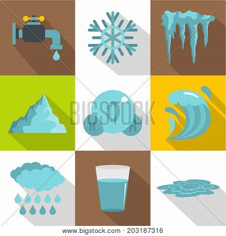 Different water form icon set. Flat style set of 9 different water form vector icons for web design