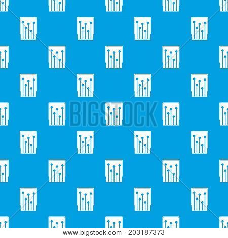 Computer processor pattern repeat seamless in blue color for any design. Vector geometric illustration
