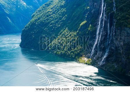 View of the Geirangerfjord fjord and the Seven Sisters waterfall, Norway