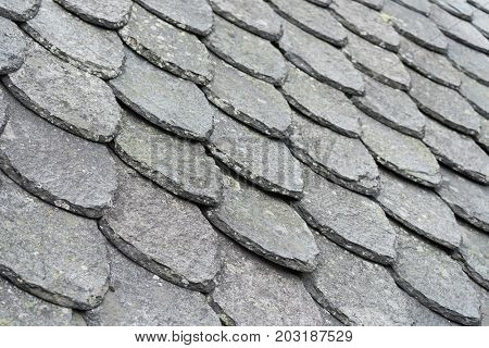 Shale roof. Traditional construction in Norway