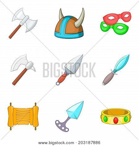 Ancient weapon icons set. Cartoon set of 9 ancient weapon vector icons for web isolated on white background