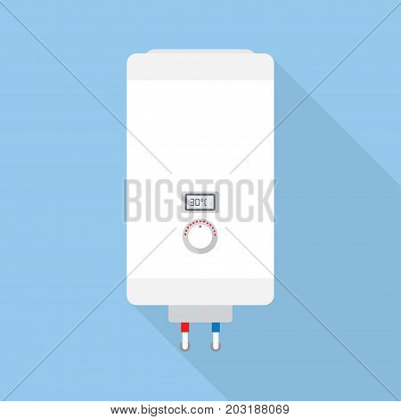 electric water heater. boiler in the flat style vector illustration front view isolated on white background