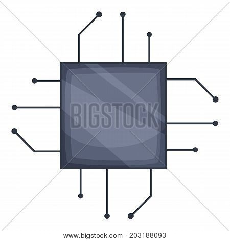 Power microprocessor chips icon. Cartoon illustration of power microprocessor chips vector icon for web