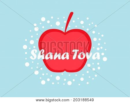Rosh Hashanah. Greeting Card Design Jewish New Year. Shana Tova. Red Apple. Vector Illustration
