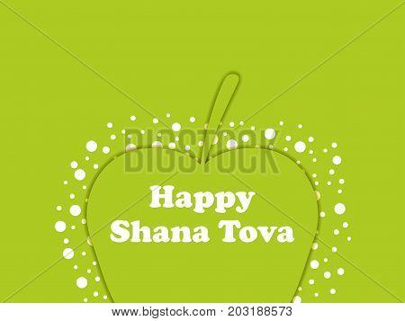 Rosh Hashanah. Greeting Card Design Jewish New Year. Shana Tova. Green Apple. Vector Illustration