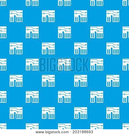 Computer chipset pattern repeat seamless in blue color for any design. Vector geometric illustration