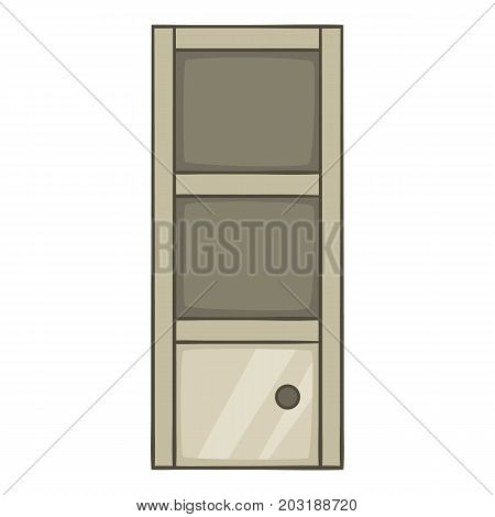 Grey bookcase icon. Cartoon illustration of grey bookcase vector icon for web