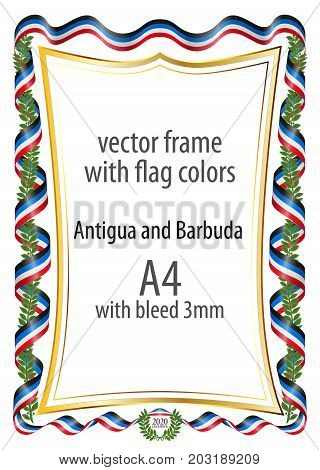 Frame and border of ribbon with the colors of the Antigua and Barbuda flag