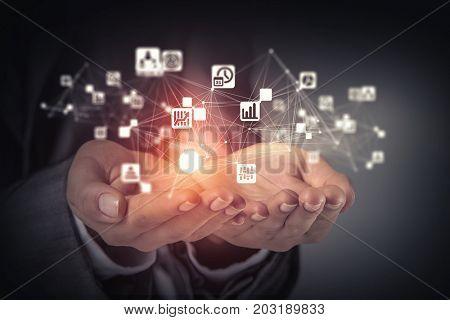Social interaction concept . 3D render