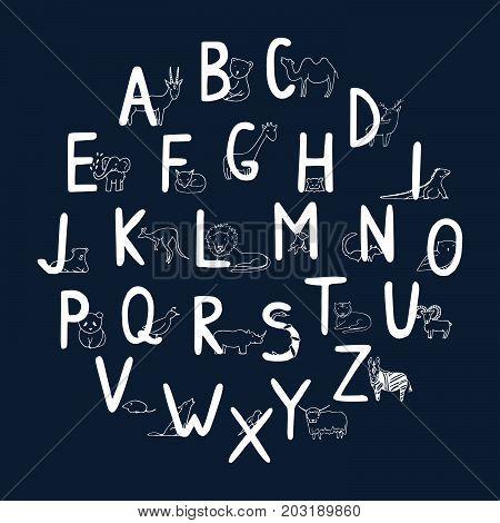 Hand Drawn Animal Alphabet For Kids.