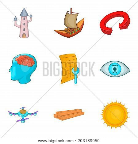 Pioneering icons set. Cartoon set of 9 pioneering vector icons for web isolated on white background