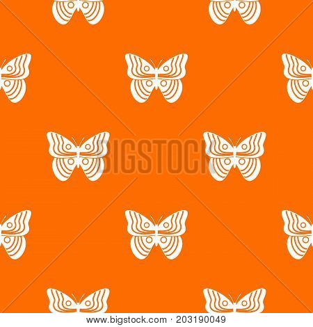 Stripped butterfly pattern repeat seamless in orange color for any design. Vector geometric illustration
